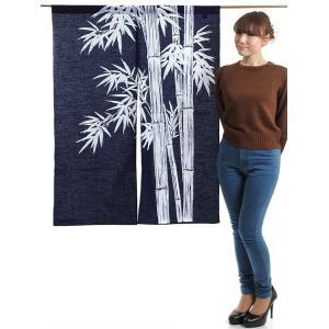 のれん 和風 おしゃれ 暖簾 間仕切り 本染め のれん ロング 85×120cm 紺 竹林|kameya
