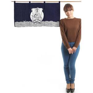 カウンター暖簾(幅85cm×丈45cm・宝船) おめでたい絵柄の福暖簾 インテリア暖簾|kameya