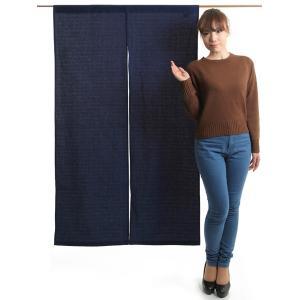 のれん 和風 おしゃれ 暖簾 間仕切り 無地 のれん ロング 90×150cm 紺 変り織り|kameya