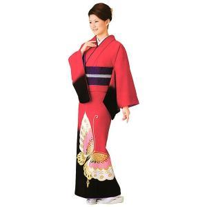 お仕立上り訪問着(赤/蝶) 絵羽着物 踊り・舞台・パーティー用訪問着 洗える着物|kameya