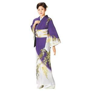 お仕立上り訪問着(紫/枝垂れ桜) 絵羽着物 踊り・舞台・パーティー用訪問着 洗える着物|kameya