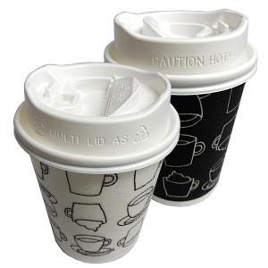 香る白ふた付き発泡耐熱紙コップ「カフェモダンN」8オンス250ml(白/黒2色アソート) 50組 耐熱紙コップ・冷暖対応蓋付セット|kami-plaza