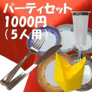パーティセット:スノウ 5人用(テーブクロス1枚・紙皿&ナイフ&フォーク&ナフキン各5・シャンパンカップ6個)|kami-plaza