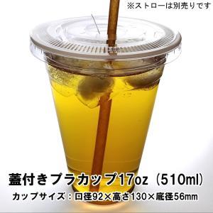 蓋付き透明プラスチックカップ17オンス 100セット(使い捨て容器) kami-plaza