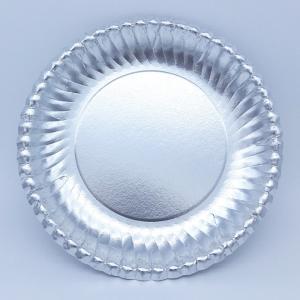 菊型紙皿シルバー7号170mm:50枚 ふちどりがおしゃれで可愛い パーティ用 使い捨て紙皿|kami-plaza