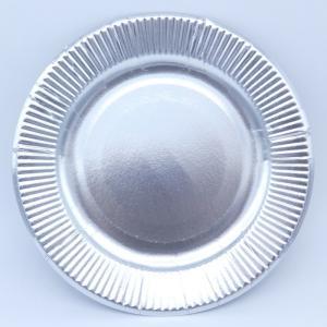 おしゃれな紙皿シルバー8号 100枚 (大きめ20cm) パーティ用に 使い捨て紙皿|kami-plaza