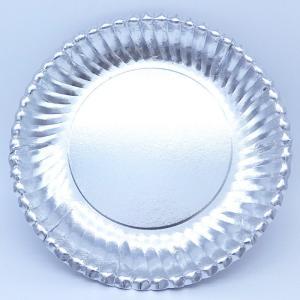 菊型紙皿シルバー8号190mm:50枚 ふちどりがおしゃれで可愛い パーティ用 使い捨て紙皿|kami-plaza