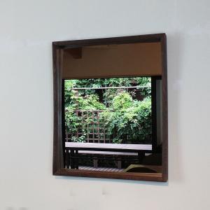 壁掛け鏡プレーン60ウォールナットモデル シンプル&上質 インテリアミラー 玄関、リビングに!