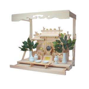 神棚 屋根違い三社 なごみ(小)雲板付棚板引出し付きNO.3セット|kamidana