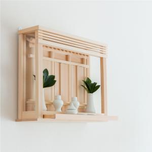 神棚 モダン箱宮 神楽(かぐら)  神具付き 置き・壁掛け兼用 国産ヒノキ使用