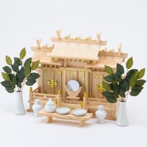 神棚セット 屋根違い三社なごみ(小) 神棚セット|kamidana