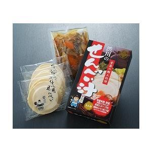 渋川のせんべい汁セット【具入りスープ付】箱入(3人分) kamikitanousan