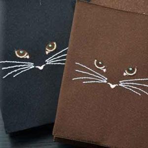 ブックカバー:刺繍 【ねこ】|kamishichikenadachi