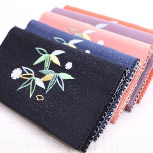 懐紙入れ:両面刺繍 【笹に雪輪】|kamishichikenadachi