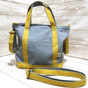 倉敷帆布のトートバッグ(フタ+肩紐+車椅子ベルト付)(グレー×キャメル)Sサイズ kamitonuno