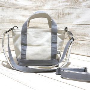 倉敷帆布のトートバッグ(フタ+肩紐+車椅子ベルト付)(生成り×グレー)SSサイズ kamitonuno