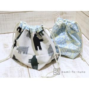 ぷっくり!お弁当袋&コップ袋セット (クマ&たくさんの葉)|kamitonuno