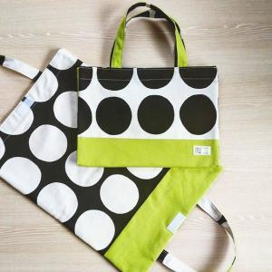 ドット柄帆布のバッグ型ブックカバー(タイプ3:ツートン)|kamitonuno