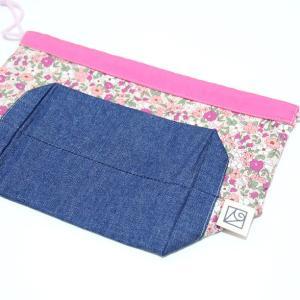 小さなお弁当サイズの巾着 (日本製ウーリーコットン・ちょっとレトロな花) kamitonuno 03