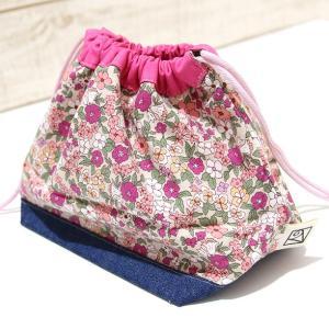 小さなお弁当サイズの巾着 (日本製ウーリーコットン・ちょっとレトロな花) kamitonuno 05