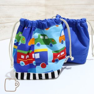 コップ袋サイズの巾着 (日本製コットン・TOY CARS)|kamitonuno