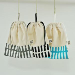 2cm刻みでサイズが選べるループ付き巾着袋(給食袋)M(20cm×16cm)北欧格子×無地 Made in Japan|kamitonuno