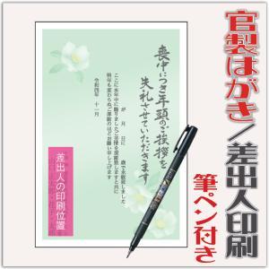 喪中はがき 喪中葉書 官製はがき 12枚 筆ペン付き 2022年 差出人印刷込み(デザイン:GZ06...