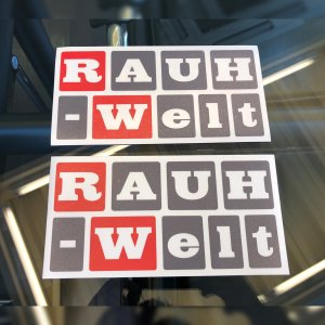 RWB 四角丸 RAUH-Welt ステッカー 2枚セット 赤/グレー|kamiwaza-japan