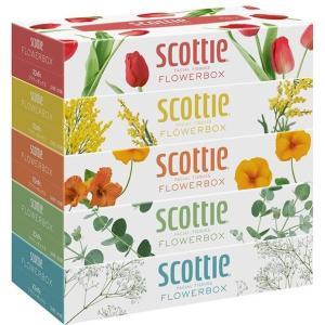 日本製紙クレシア スコッティ (SCOTTIE) ティッシュペーパー フラワーボックス 320枚(160組)5箱 ×12パック(60箱)  ティシュペーパー まとめ買い