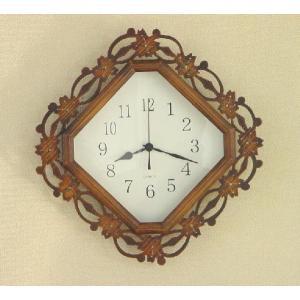 ツタの葉の柄の壁掛け時計 kamizen