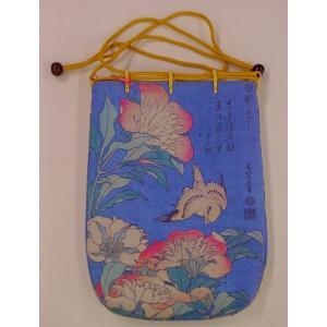 浮世絵巾着袋 北斎 芍薬(しゃくやく)とカナリア kamizen