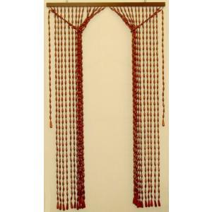 珠暖簾(玉のれん) タッセル式 150cm丈 ライトブラウン|kamizen