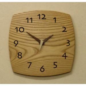 天然木一枚板の掛け時計 栗の木 角型28cm|kamizen