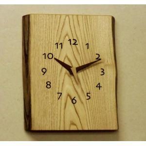 天然木一枚板の時計 栗の木  角型耳付き 30cm|kamizen
