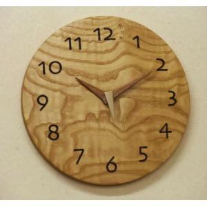 天然木一枚板の時計 栗 丸型26cm|kamizen