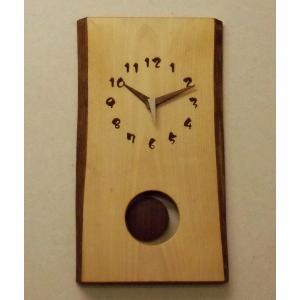 天然木一枚板の振り子時計 シナの木45cm|kamizen