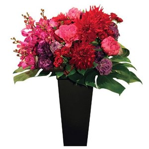 開店祝い 花 ギフト フロレアル フェリシテ ラウンド フラワーアレンジ スタンドタイプ (6色から選べます!) 送料無料 誕生日 記念日 お花 バラ プレゼント|kamon-hanay