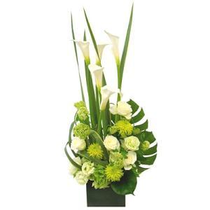 花 ギフト 開店祝い フロレアル フェリシテ ライン フラワーアレンジ Cタイプ 《卓上タイプ》(6色からご選択)  送料無料 誕生日 記念日 お花 バラ プレゼント|kamon-hanay