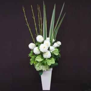 花 ギフト 開店祝い フロレアル フェリシテ(ラインアレンジ)Dタイプ 《床置きタイプ》(6色から選べます!) 送料無料 誕生日 お花 バラ プレゼント|kamon-hanay