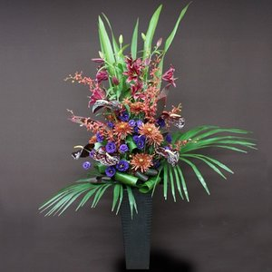 花 ギフト 開店祝い フロレアル フェリシテ(ラインアレンジ)Fタイプ 《床置きタイプ》(6色から選べます!) 送料無料 誕生日 お花 バラ プレゼント|kamon-hanay