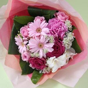 花 ギフト 誕生日 フラアート花門 カジュアルブーケ Lサイズ(4色から選べます!) あす楽 送料無料 花束 ブーケ バラ お花 フラワー プレゼント フラワーギフト|kamon-hanay