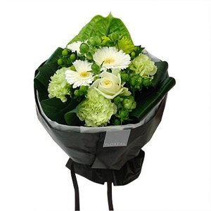 ブーケロン Bタイプ (グリーン&白) 花 ギフト 誕生日 プレゼント フラワー ギフト 花束 ブーケ お祝い 記念日 出産祝い 退職祝い 送別 送料無料 あすつく|kamon-hanay