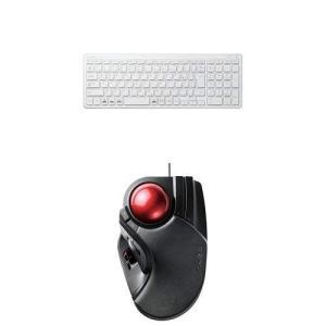 エレコム 無線超薄型コンパクトキーボード TK-FDP099TWH & エレコム トラックボール(人差し指・中指操作タイプ) M-HT1UR|kamoshika