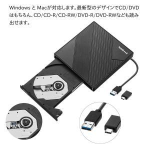 Amicool DVD ドライブ 外付け USB 3.0 Type-C付き DVD プレイヤー ポータブルドライブ CD/DVD読取・書込|kamoshika
