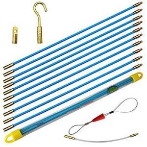 Aewio 通線 入線 呼線工具 ロッド ケーブル牽引具セット5m(50cmx10pcs) (全長さ...