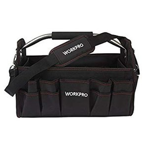 WORKPRO 折畳みツールバッグ400mm 工具バッグ 道具袋 工具差し入れ フルオープン ショル...