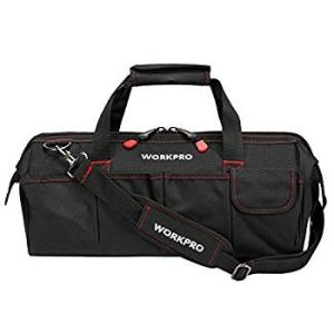 WORKPRO 大口収納ツールバッグ 幅450mm ワイドオープン工具袋 ショルダーバッグ サイドポ...