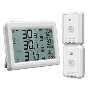 ORIA デジタル温度計 外気温度計 ワイヤレス 温度計 室内 室外 二つセンサー 高精度 LCD大...