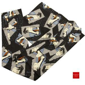 おしゃれ 浴衣ローブ C-4 男性用 浴衣 共布の帯 2点セット 纏 まとい サイズ M L LL 浮世絵 kamoya529