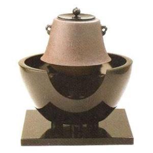 茶道具 紅鉢尺0 真黒色4点セット <風炉・小釜富士釜・五徳・小坂>14-3